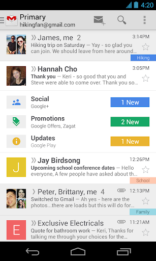 gmail for android screenshot