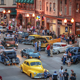 Downtown Saturday Night by Gary Hanson - City,  Street & Park  Street Scenes ( car, minnesota, classic cars, hastrings, night, streets, saturday night, downtown, classics )