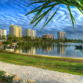 Sarasota Bay Front by James Farnum - City,  Street & Park  City Parks ( bay front walk, sailboats, bay, cityscape, bay front water )