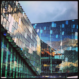 Harpa by Tara Bauman - Instagram & Mobile iPhone ( reykjavik, harpa, harpa concert hall, glass building, reflections,  )