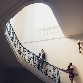 Love is the master key that opens the gates of happiness, of hatred, of jealousy, and, most easily of all, the gate of fear. by Yansen Setiawan - Wedding Other ( love, stairs, lovers, engagements, couple, lovebirds, love birds, engagement )