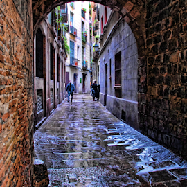 The Archade by Antonio Amen - Buildings & Architecture Other Exteriors ( typical, street, arched, bricks, wet, rain, tunnel )