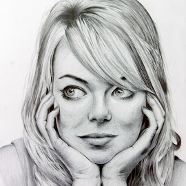 Emma Stone by Khanes Chaengpradit - Drawing All Drawing ( sketch, emma stone, the amazing spiderman, traditional art, drawing )