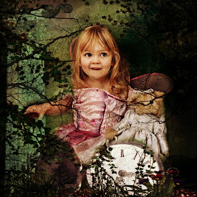 time by Kathleen Devai - Babies & Children Child Portraits ( clock teddy girl fantasy portrait )