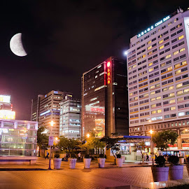 recent lunar eclipse in taipei city by Sisnarf RN - Buildings & Architecture Office Buildings & Hotels ( the mood factory, mood, lighting, sassy, pink, colored, colorful, scenic, artificial, lights, scents, senses, hot pink, confident, fun, mood factory  )