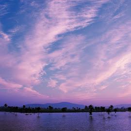 Winter... by Vaibhav Rege - Landscapes Cloud Formations ( clouds, vaibhavrege, red, winter, vaibhav, lake )
