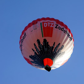 Hot air balloon by Anita Berghoef - News & Events Entertainment ( hot air balloon, blue sky, outdoor photography, blue, outdoors, looking up )