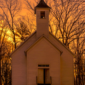 I Can Do All Things by Ann Allison - Buildings & Architecture Places of Worship ( church, cades cove baptist church, sunrise, cades cove, smoky mountains )