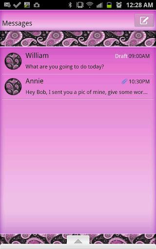 GO SMS - Purple Paisley 2