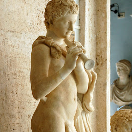 Roman Musician by Timothy Carney - Buildings & Architecture Statues & Monuments ( sculpture, rome, musician, boy )
