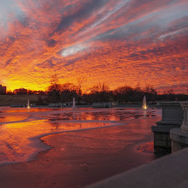 Briliant Water & Sky 1 by Jordan Chapell - Landscapes Sunsets & Sunrises ( reflection, forest park, park, fountains, saint louis, sunset, fountain )