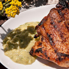 Chipotle Grilled Chicken Thighs with Spicy Tomatillo Sauce