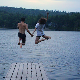 Jump! by Lauren Margraves - People Couples ( camp, friends, lake, fun, jump )