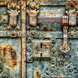 Old Metal Door by Scott Anderson - Buildings & Architecture Architectural Detail ( cyan, rusting, blue, door, teal, rust, decay )