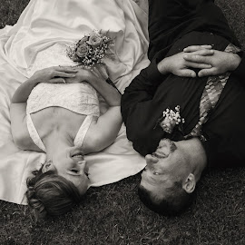 Sweet Relaxation by Jacenta Grover - Wedding Bride & Groom ( black and white, wedding, outdoors, bride, groom )