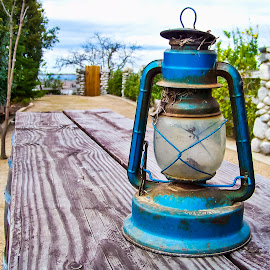 Temecula Lantern by Victor Martinez - Artistic Objects Antiques ( lantern, wood, blue, lamp, kodak, antique,  )