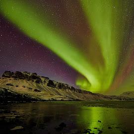 Hvalfjordur, another process 1 by Palmi Vilhjalmsson - Landscapes Starscapes ( auroraauroar borialisicelandnotrhern lightswest icealndgreen )