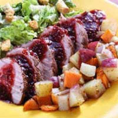 HEB Raspberry Chipotle Pork w/ Roasted Tricolor Potatoes