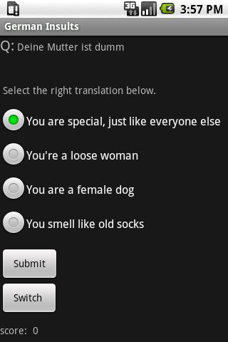 German Insult Quiz Dict