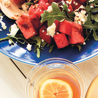 Watermelon, Feta, and Arugula Salad with Balsamic Glaze