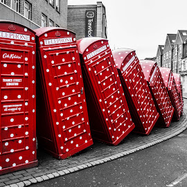 Cabin by Elvira Cabas - City,  Street & Park  Vistas ( red, london, selective color, pwc )