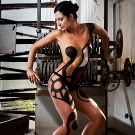 by Todor Lichev - People Body Art/Tattoos ( mishel, girl, photovacation 2012, body & hair, events, body painting, window frame, people, portrait, outside )