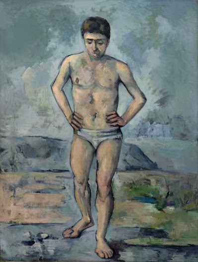 (From MoMA.org) Cézanne did not include much information in this painting. He painted from a photograph of a man standing in a studio in a bathing suit rather than from something that he had seen in real life. It is **** to tell where the painting takes place and who the person is. This uncertainty is one of the reasons why The Bather is considered to be a modern painting. Instead of telling a story or representing a specific place, the painting seems to capture a sense of ambiguity or uncertainty that is typical of the modern experience. • Ask your students how they might convey an idea about life where they live (i.e., is it crowded and noisy or desolate and quiet?) without showing a specific place or activity.  AUDIO: Find out why Cézanne is considered to be one of the forefathers of 20th-century painting, with Curator Anne Temkin. http://www.moma.org/explore/multimedia/audios/3/34