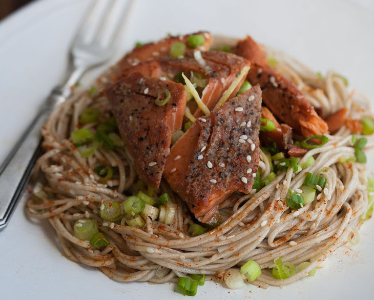 Buckwheat Soba Noodles & Ginger Sesame Dressing with Wild Sockeye ...