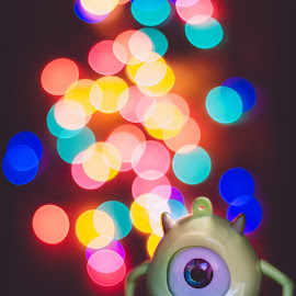 Mike Wazowski Bokeh Photography by Chia Shu Ning - Artistic Objects Toys ( car, decorate, decorative, bokehphotography, decoration, monsteruniversity, christmas, nice, mike, toycar, cute, bokeh, lights, minilights, bokeheffect, led, toy, toys, monsterinc, mini, mikewazowski )