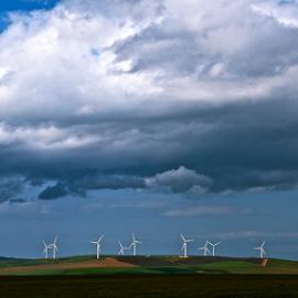 Wind Turbines by Martha van der Westhuizen - Landscapes Prairies, Meadows & Fields ( clouds, countryside, illuminated, wind turbines, landscape )