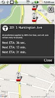 Screenshot of Boston Bus Tracker MBTA