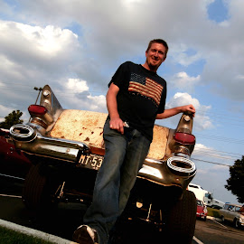 My Hunny and his Car by Jen Rhora - People Portraits of Men ( 2014, ratrod, summer, gratiot cruise, car show, classic, pontiac )