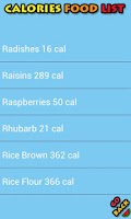Screenshot of Calories Food List