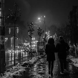 Night Stroll by Dragos Prisacaru - City,  Street & Park  Street Scenes