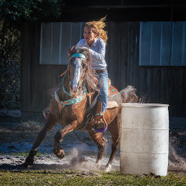 Around the Barrel by Lynn Wiezycki - Sports & Fitness Other Sports ( rick sammon, old mcmickey's farm, horse, action )