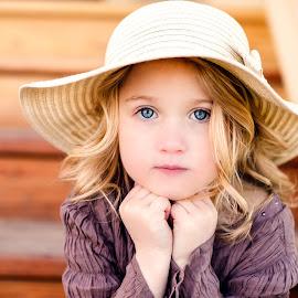 Miss Avery by Kelly Lynn - Babies & Children Children Candids ( girl, blue, children, candid, eyes, hat )
