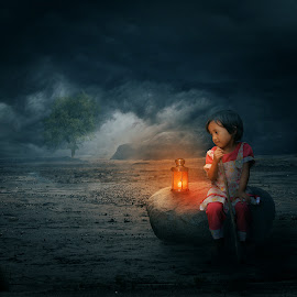 Cahaya by Musyawir Bepe - Digital Art People ( child, lamp, trees )