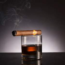Whiskey & Cigar by Kailey Tennessen - Food & Drink Alcohol & Drinks ( studio, low key, still life, professional, commercial )