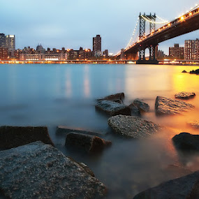 Manhattan New york by Henry Kurniawan - Landscapes Waterscapes ( hdr, waterscape, mind blowing, long exposure, manhattan, new york, bridge, landscape, slow shutter, brooklyn, city )