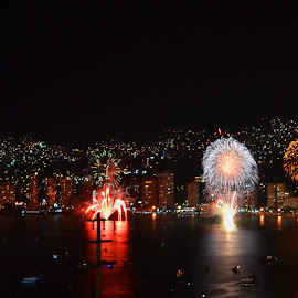 With Reflections  by Kamila Romanowska - Abstract Fire & Fireworks ( lights, acapulco, new year, mexico, nye, fireworks, celebration )