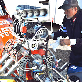 Fine Tuning Between Races by Kevin Dietze - Transportation Automobiles ( drag racing, dragster, flat head, nostalgic, motorsports )