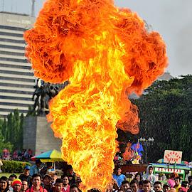 man on fire by Kosasih Harris - People Street & Candids