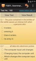 Screenshot of TOEFL Grammar Test