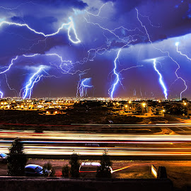 Lightning over Albuquerque by David Bennett - Landscapes Weather ( lightning, albuquerque, storm, new mexico )