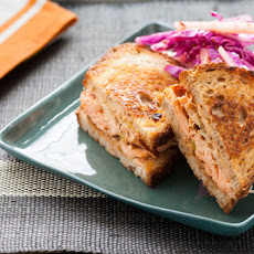 Salmon Pastrami on Rye with Red Cabbage & Green Apple Slaw