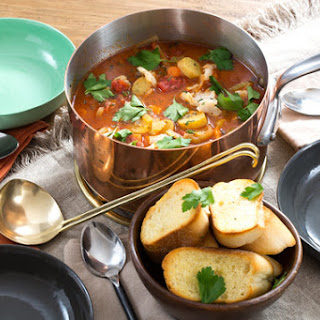 Manhattan-Style Fish Chowder with Garlic Crostini