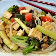 Hurry-up Hoisin Tofu and Vegetables with Rice Noodles