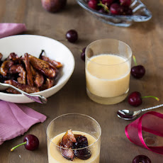 White Chocolate Pots De Creme With Honey Roasted Figs & Cherries