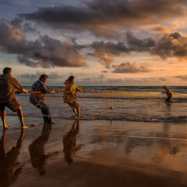 t e a m w o r k by António Leão de Sousa - People Professional People ( canon, fishnets, fishermen, beaches, arte xávega, costa de caparica, fishing )