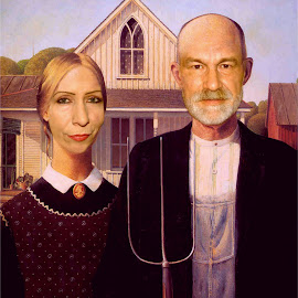 Paul & Sondra Gothic by Paul Mays - Painting All Painting ( selfie, portrait, photoshop, american gothic )